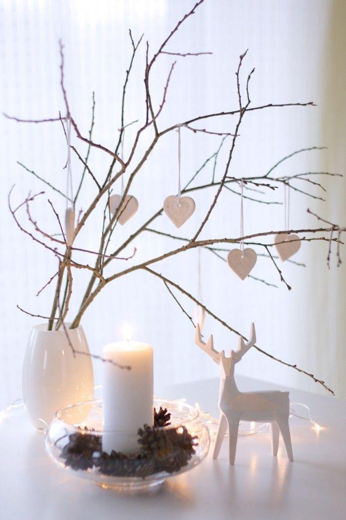 decoración navideña en blanco