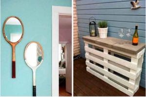 decoración DIY palet y raquetas
