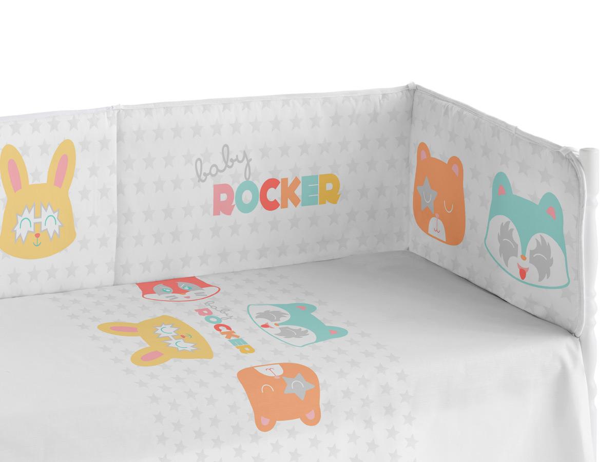 chichonera cuna con diseño gatitos rockeros