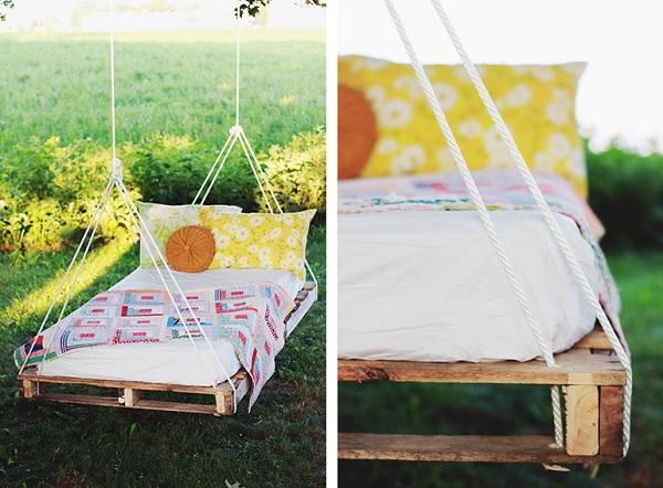 cama colgante palets jardín